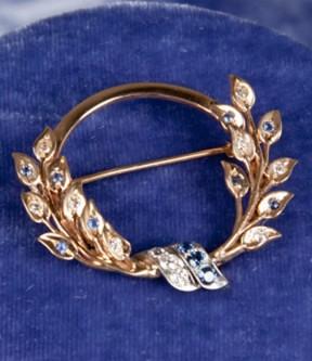 Diamond and Bright Sapphire Brooch
