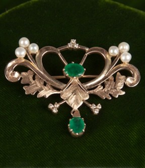 Emerald, Diamond, and Pearl Brooch