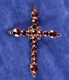Garnet Cross Brooch