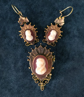 Cameo Brooch and Earring Set