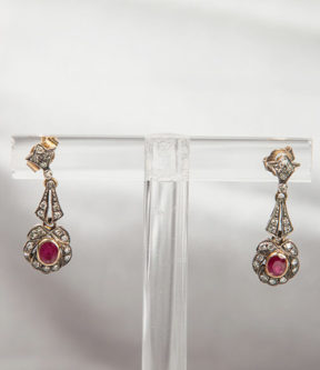 Ruby And Diamond Post Earrings
