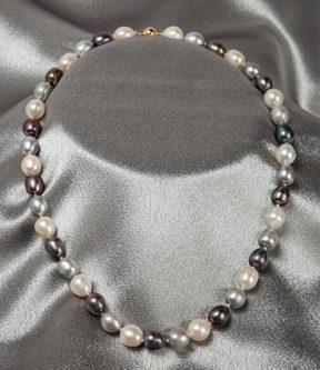 Tri-Color Pearl Necklace