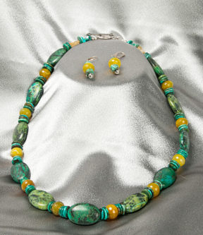 Turquoise and Citrine Necklace Set with Earrings