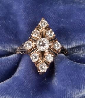 Diamond and Black Enamel Ring