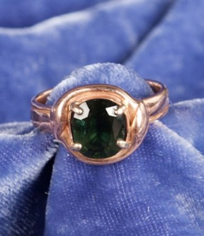 Rose Gold and Green Sapphire Ring