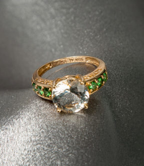 Aquamarine and Garnet Ring