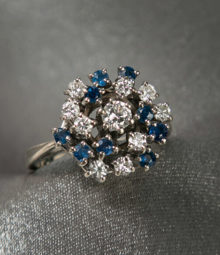 Cluster Diamond and Sapphire Ring