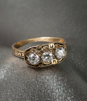 Diamond Ring with Black Enamel