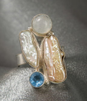 Pearl and Moonstone Ring