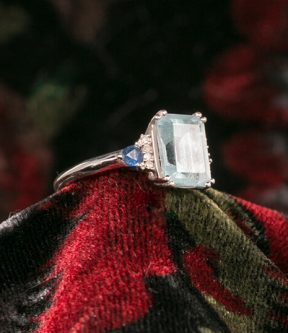 Aquamarine, Sapphire, and Diamond Ring