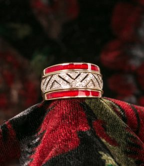 Red Enamel and Diamond Ring